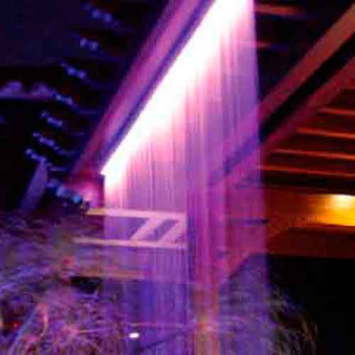 Fiber Optic Rain Curtain at night